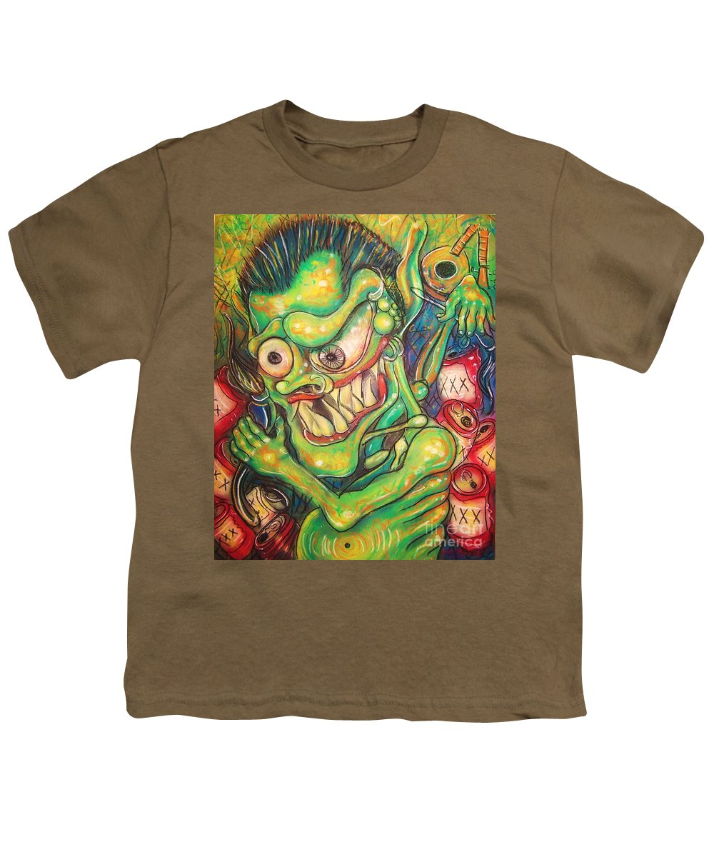 Beer Youth T-Shirt featuring the painting Alcoholic Demon by Americo Salazar