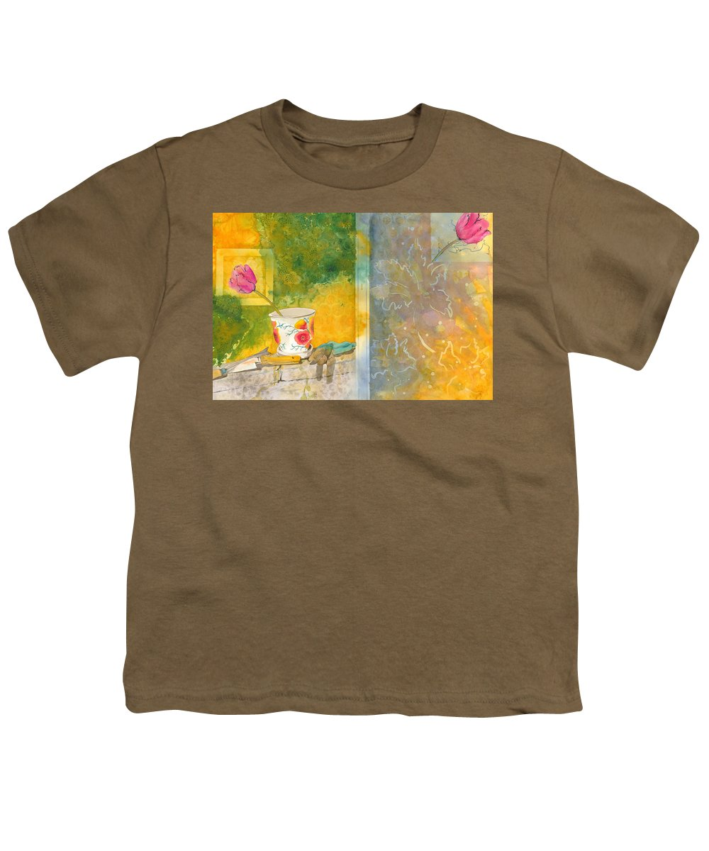 Garden Youth T-Shirt featuring the painting Along The Garden Wall by Jean Blackmer