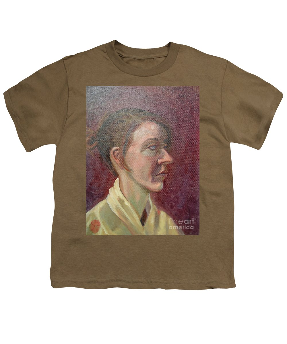Girl Youth T-Shirt featuring the painting Ami Portrait by Lilibeth Andre