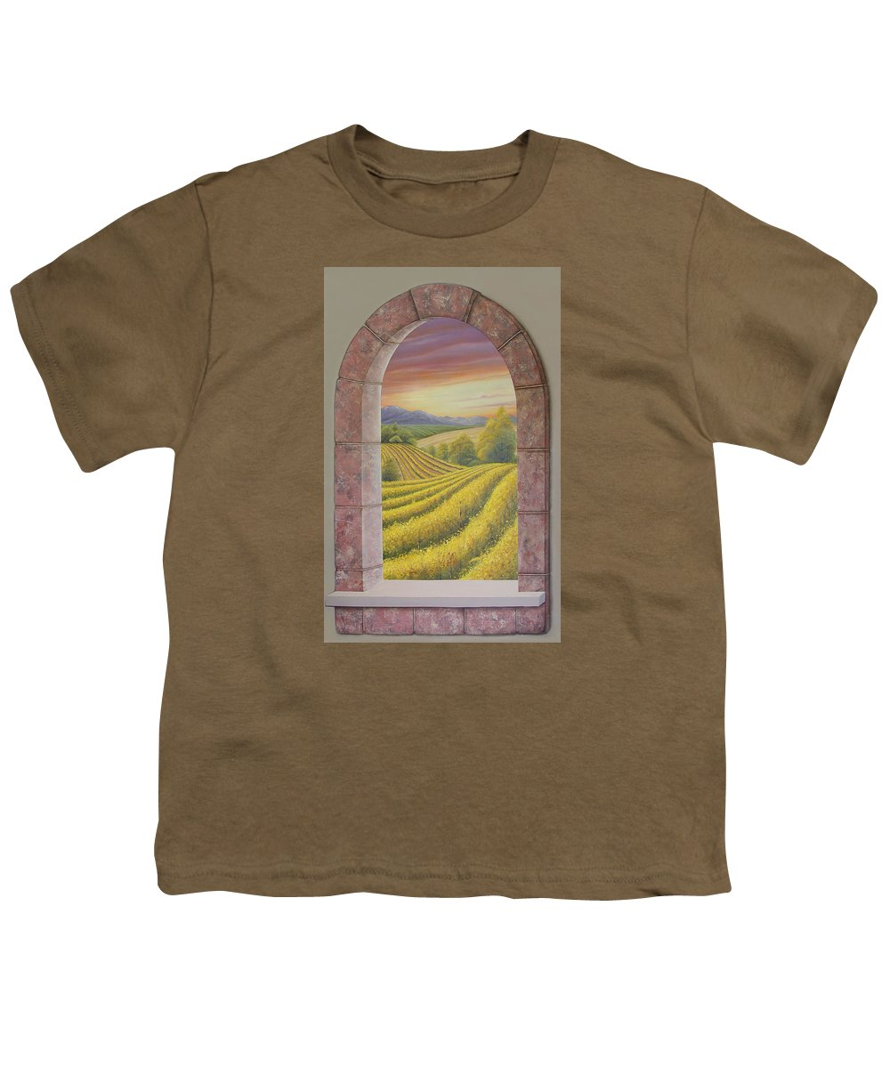 Realistic Youth T-Shirt featuring the painting Arco Vinal by Angel Ortiz