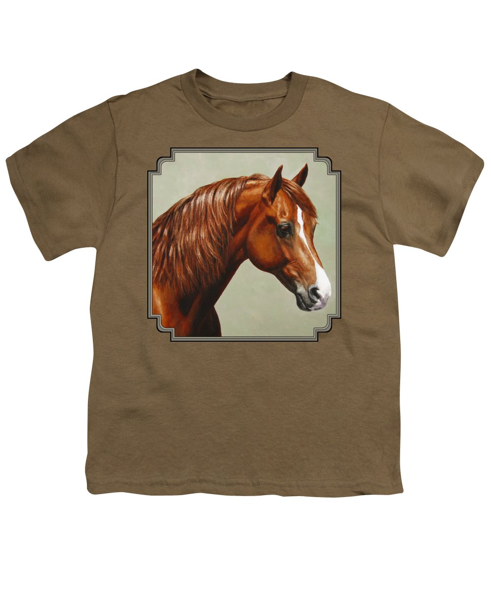 Horse Youth T-Shirt featuring the painting Morgan Horse - Flame by Crista Forest