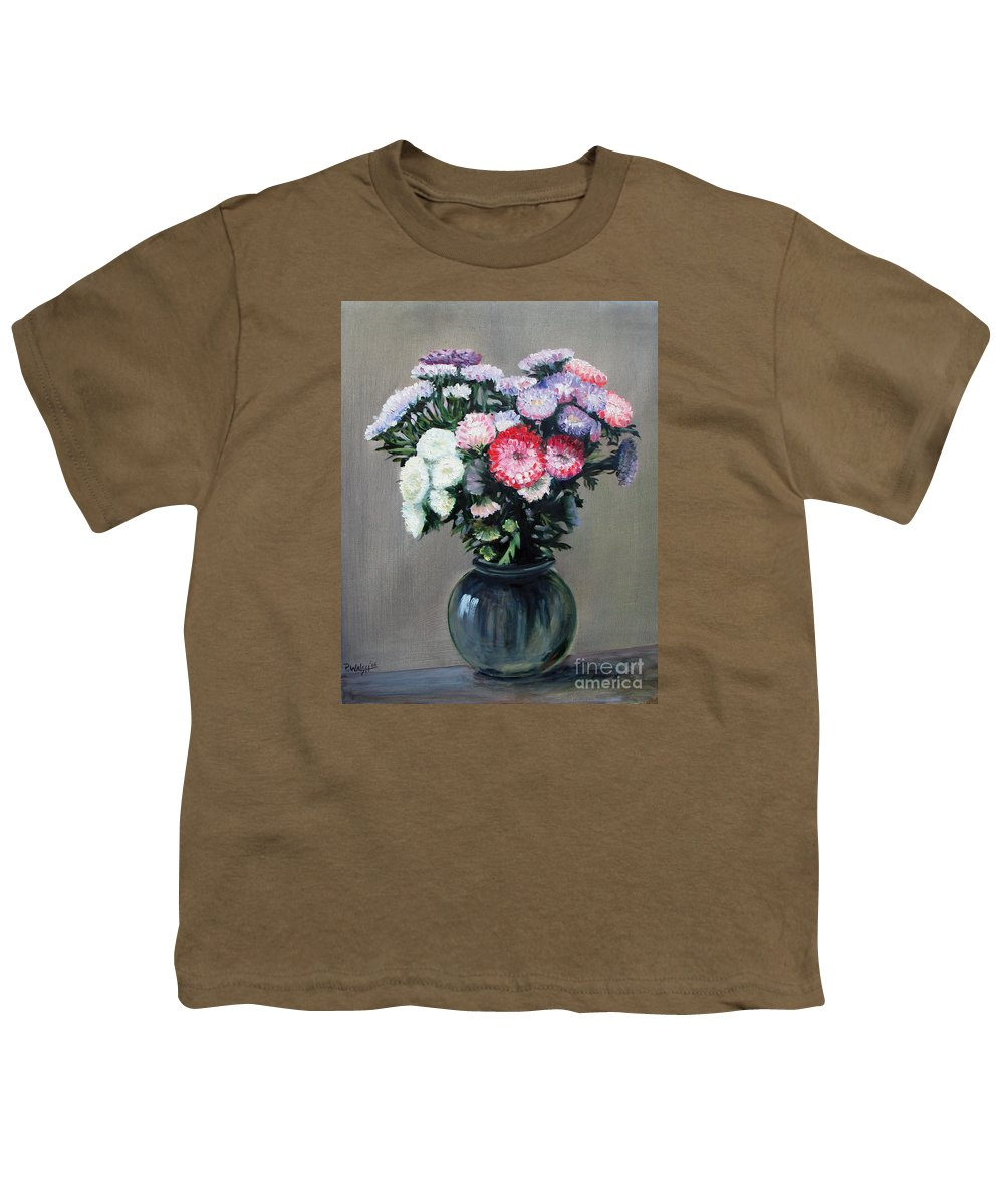 Flowers Youth T-Shirt featuring the painting Asters by Paul Walsh