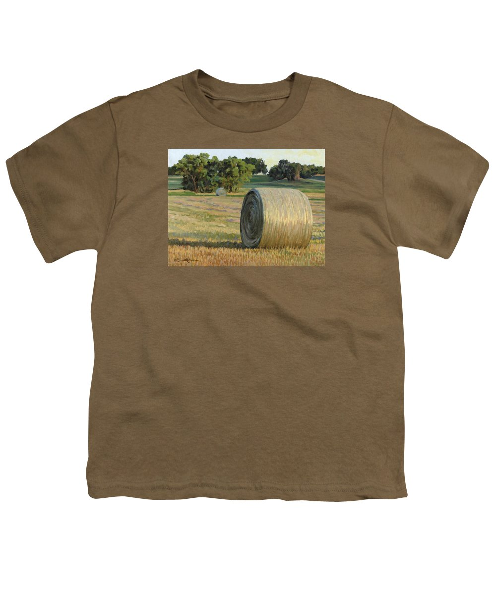 Landscape Youth T-Shirt featuring the painting August Bales by Bruce Morrison