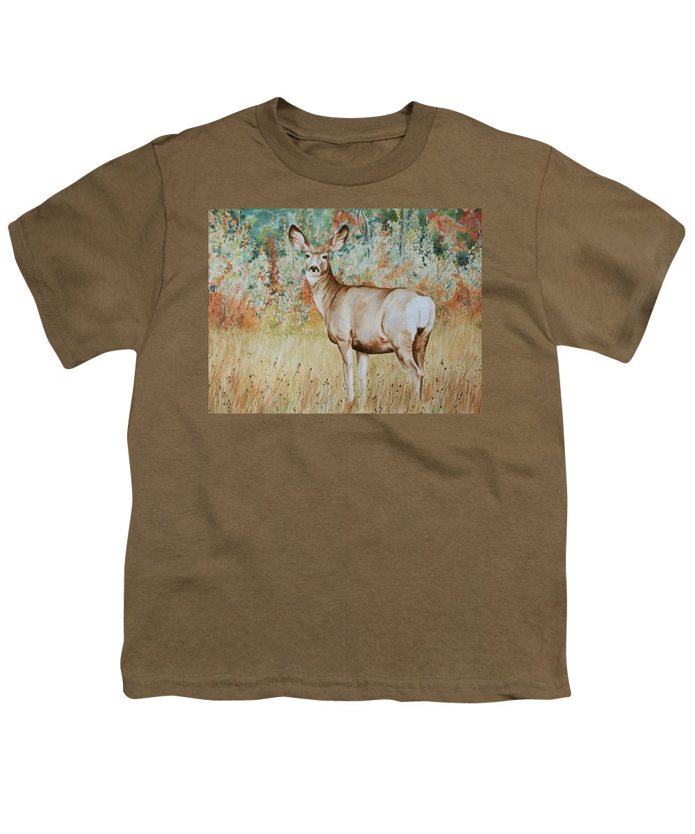Wildlife Youth T-Shirt featuring the painting Autumn Beauty- Mule Deer Doe by Elaine Booth-Kallweit