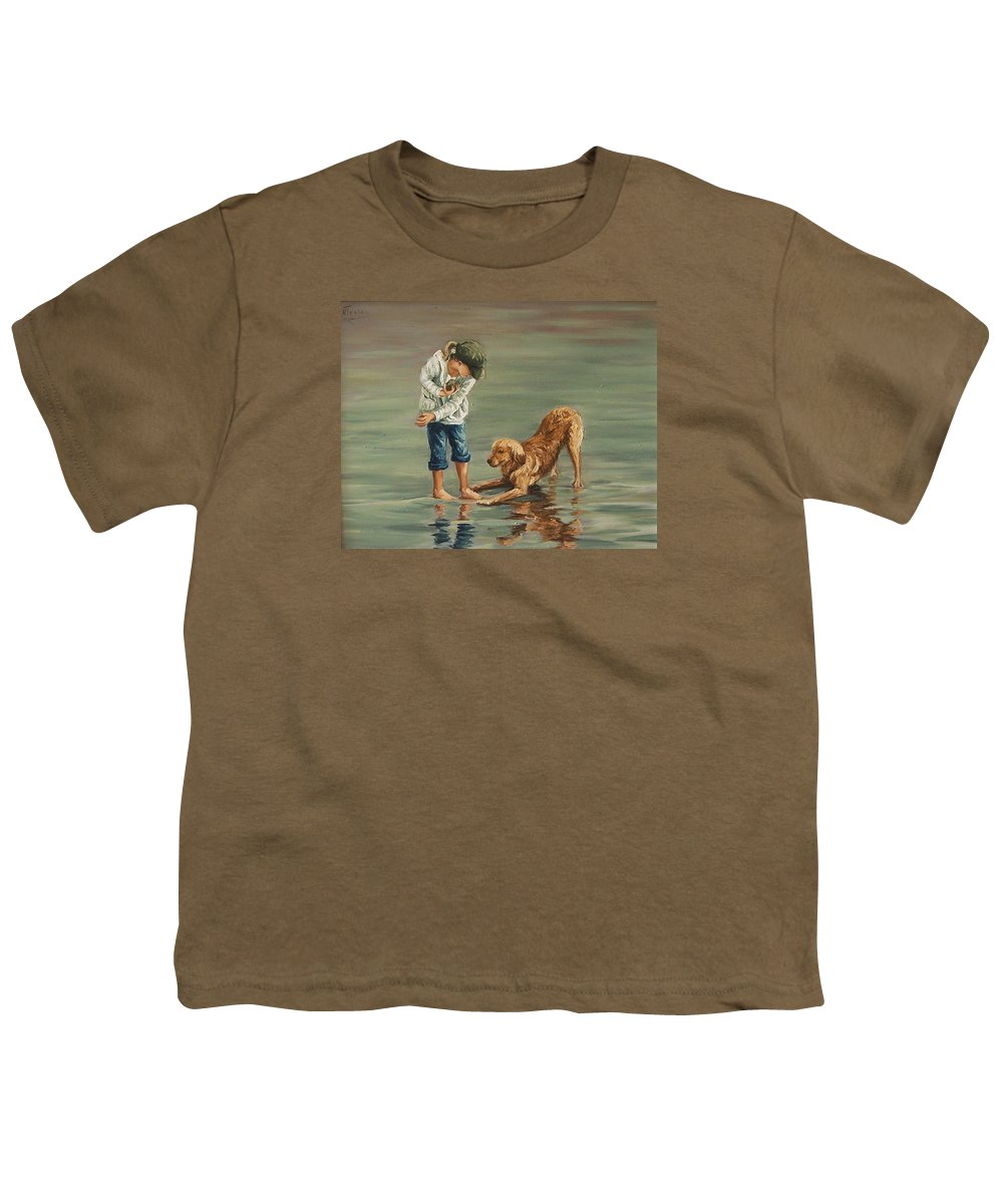 Girl Kid Child Figurative Dog Sea Reflection Playing Water Beach Youth T-Shirt featuring the painting Autumn Eve by Natalia Tejera