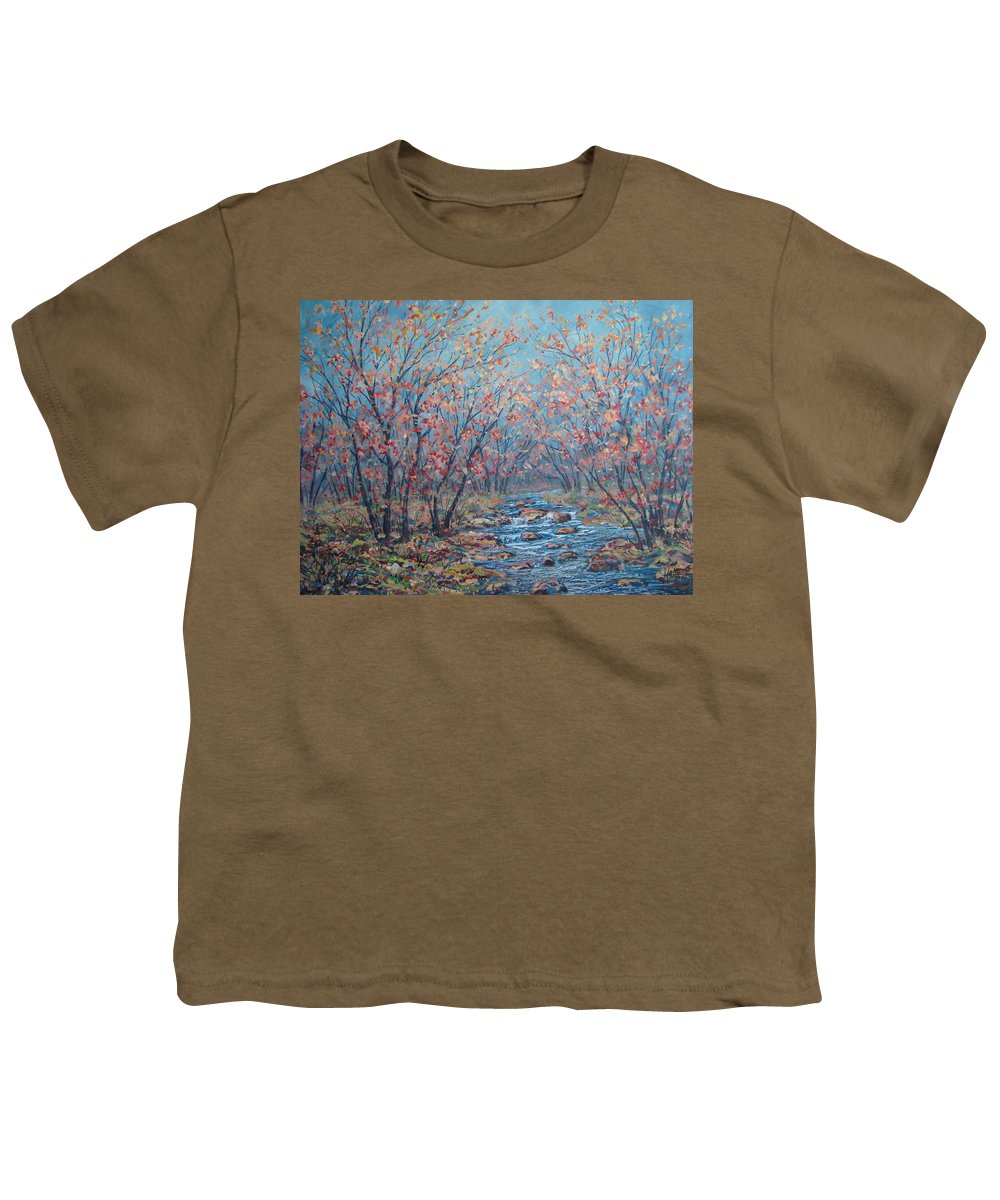 Landscape Youth T-Shirt featuring the painting Autumn Serenity by Leonard Holland