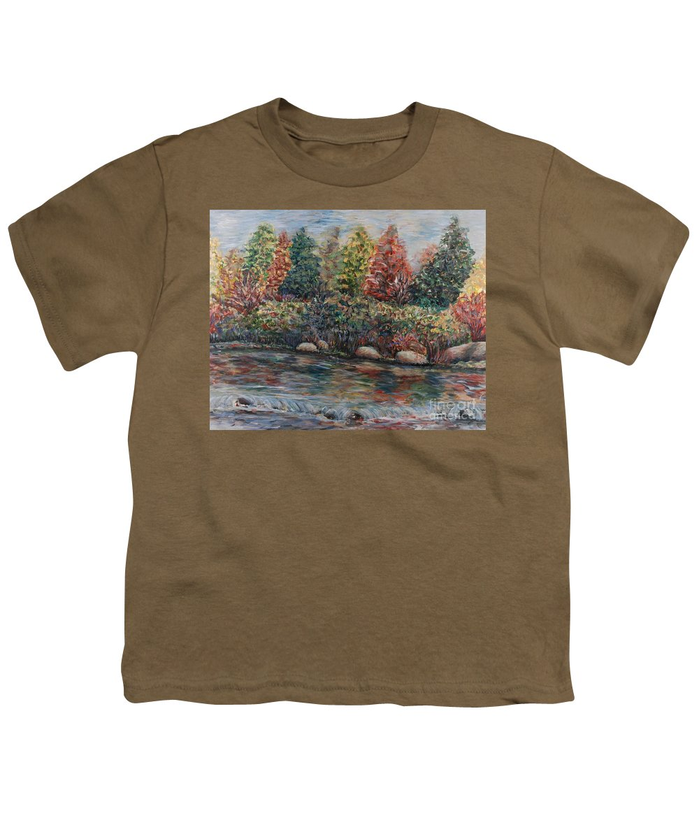 Autumn Youth T-Shirt featuring the painting Autumn Stream by Nadine Rippelmeyer
