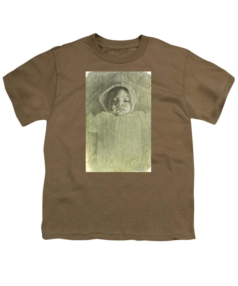 Youth T-Shirt featuring the painting Baby Self Portrait by Joe Velez