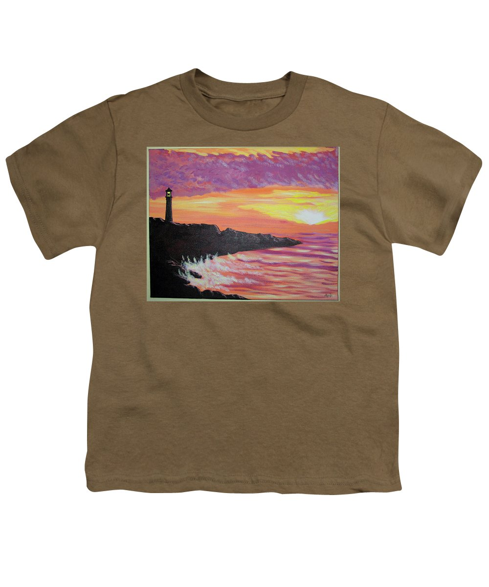 Seascape Youth T-Shirt featuring the painting Bahia At Sunset by Marco Morales