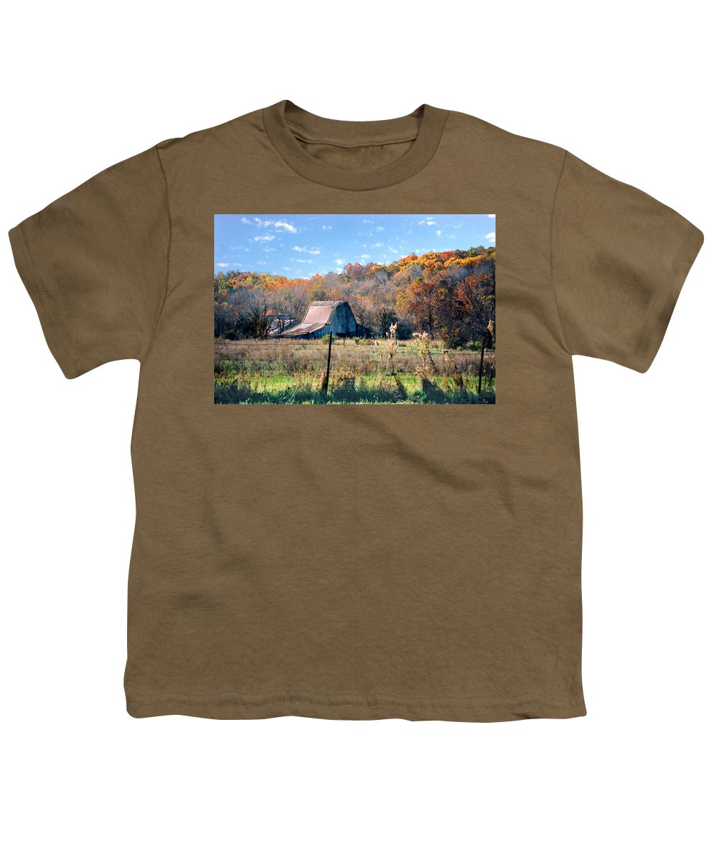 Landscape Youth T-Shirt featuring the photograph Barn In Liberty Mo by Steve Karol
