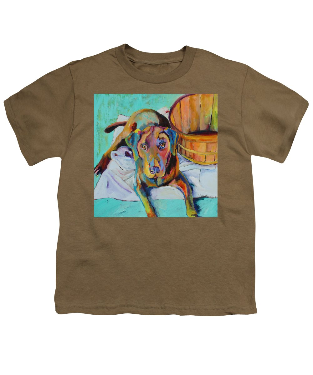 Chocolate Lab Youth T-Shirt featuring the painting Basket Retriever by Pat Saunders-White