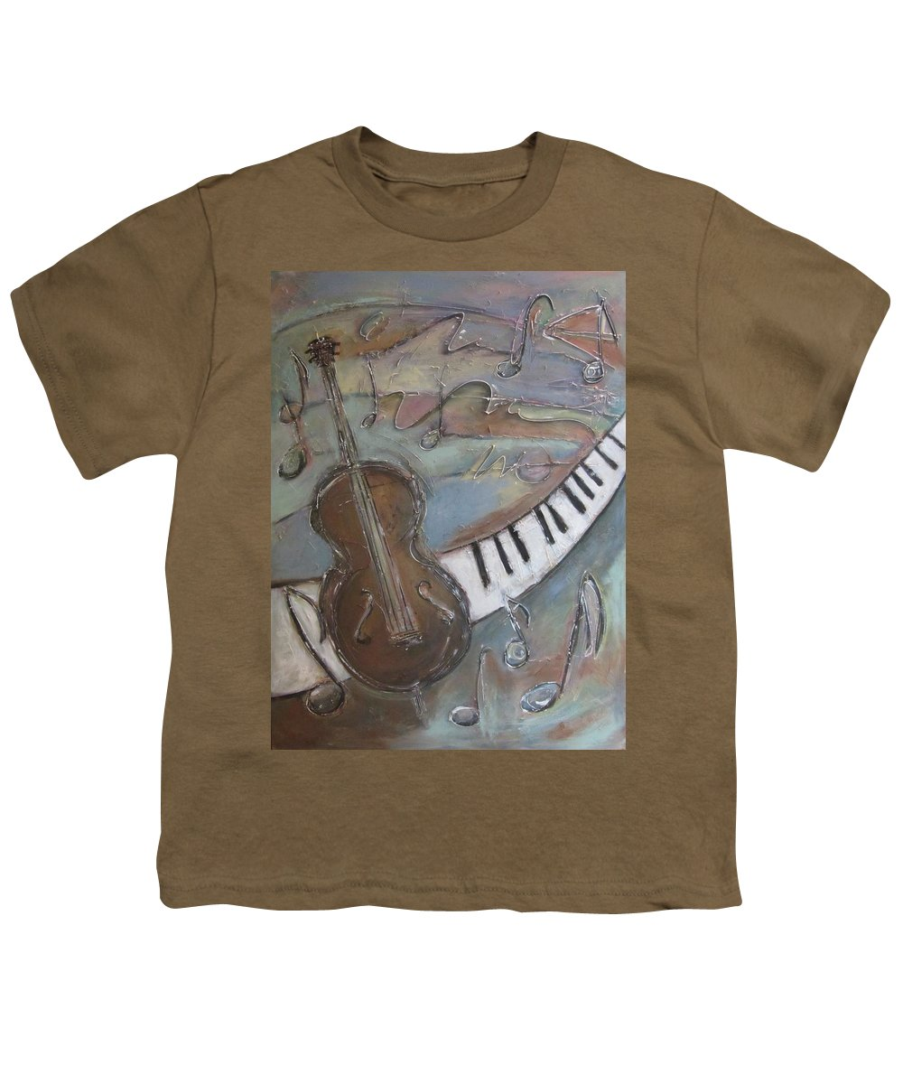 Painting Youth T-Shirt featuring the painting Bass And Keys by Anita Burgermeister