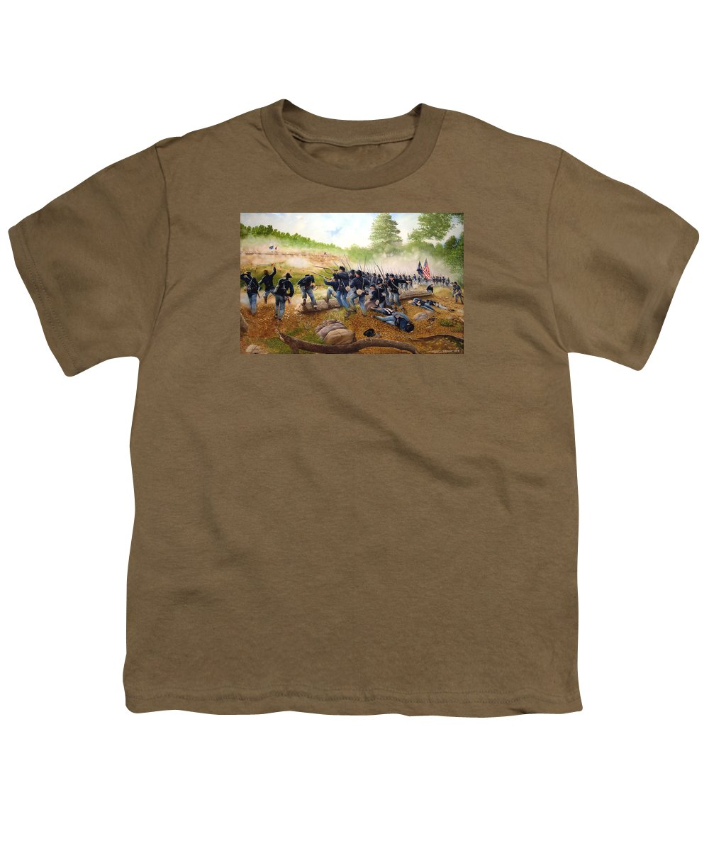 Civil War Youth T-Shirt featuring the painting Battle Of Utoy Creek by Marc Stewart