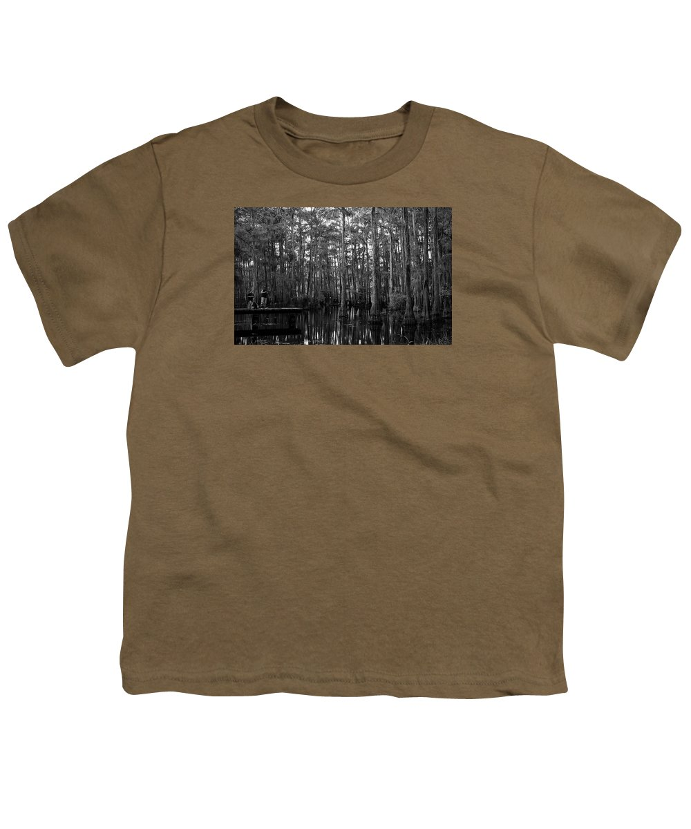 Swamps Youth T-Shirt featuring the photograph Bayou Family Fishing by Ester McGuire