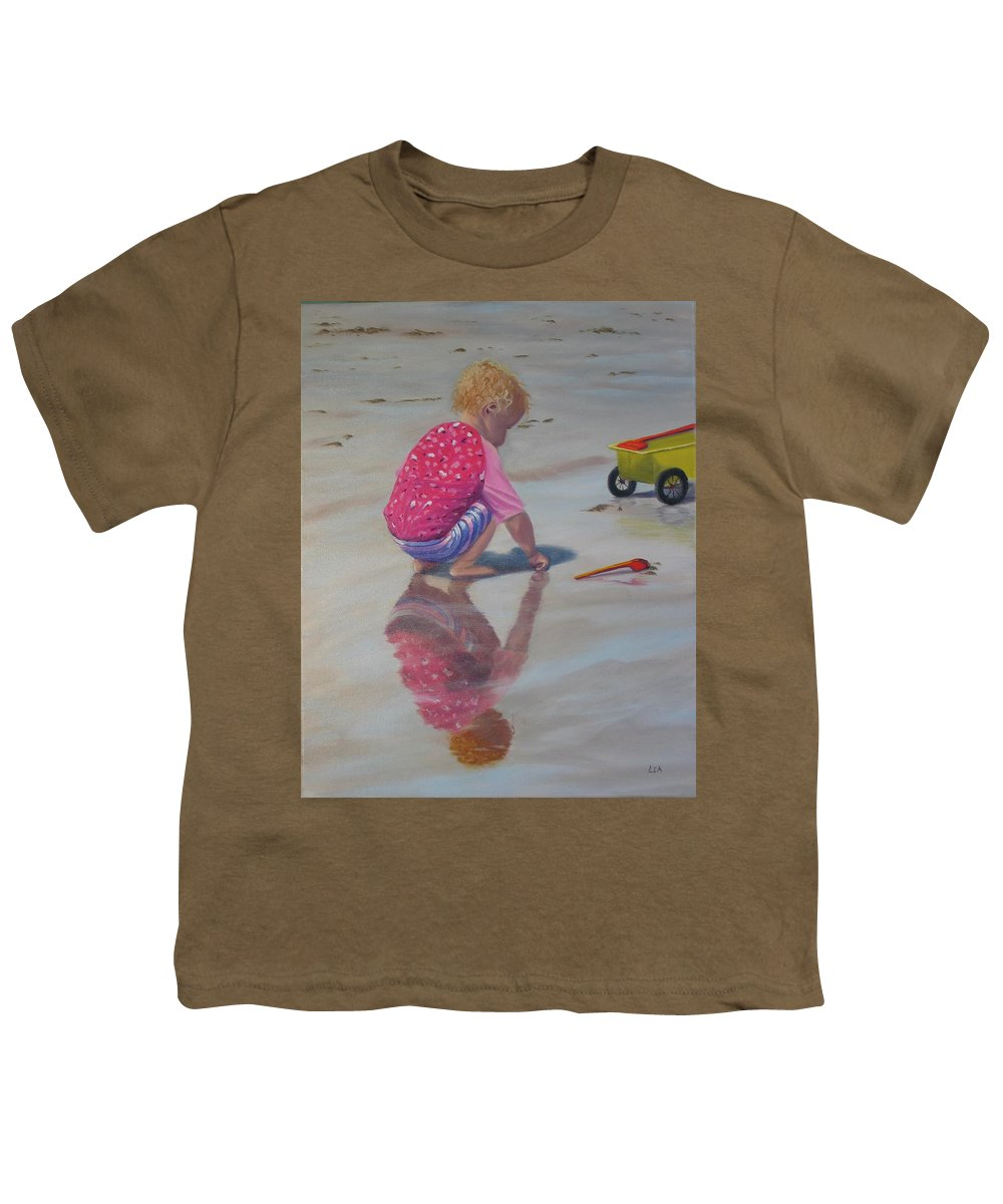 Baby Youth T-Shirt featuring the painting Beach Baby by Lea Novak