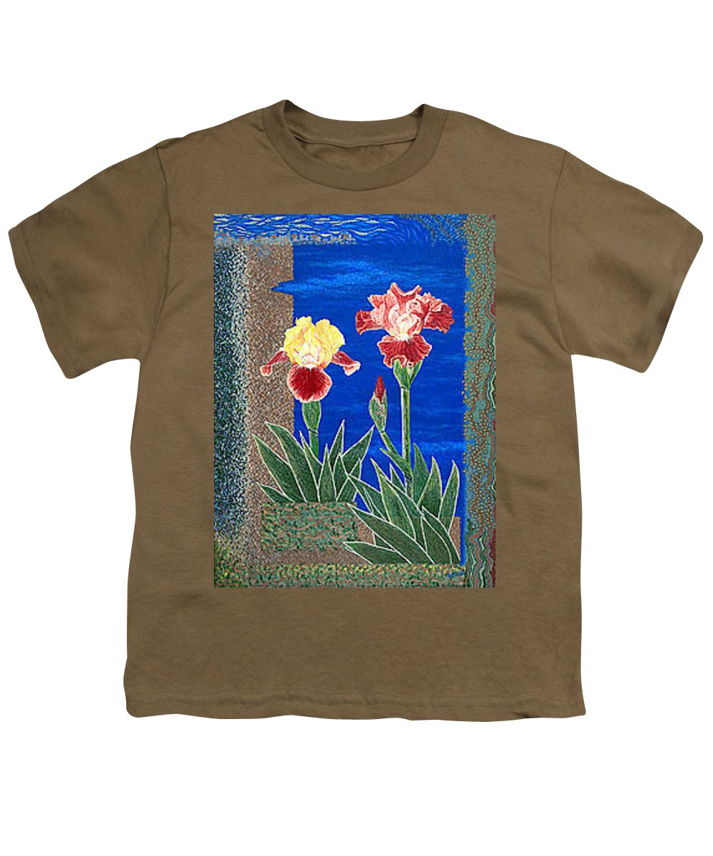 Irises Youth T-Shirt featuring the painting Bearded Irises Cheerful Fine Art Print Giclee High Quality Exceptional Color by Baslee Troutman