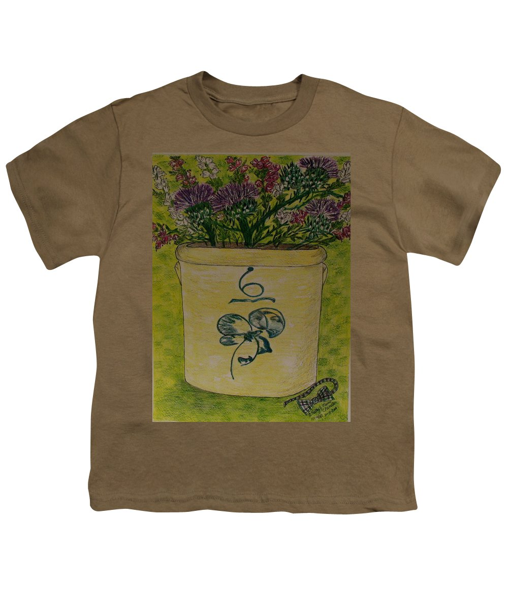 Bee Sting Crock Youth T-Shirt featuring the painting Bee Sting Crock With Good Luck Bow Heather And Thistles by Kathy Marrs Chandler