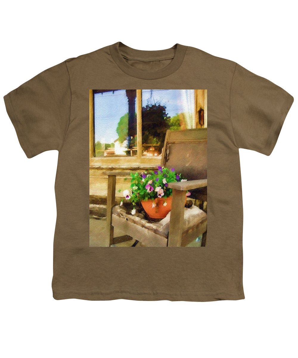 Pansies Youth T-Shirt featuring the photograph Best Seat In The House by Sandy MacGowan