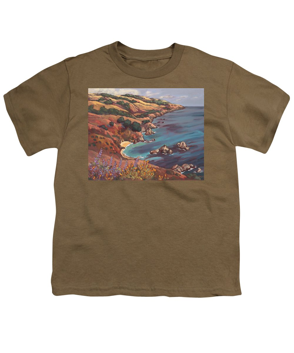 Ocean Youth T-Shirt featuring the painting Big Sur Coast by Peggy Olsen