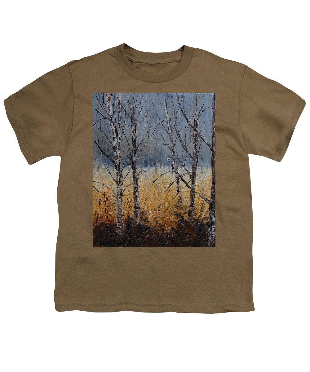 Winter Youth T-Shirt featuring the painting Birch Trees by Pol Ledent