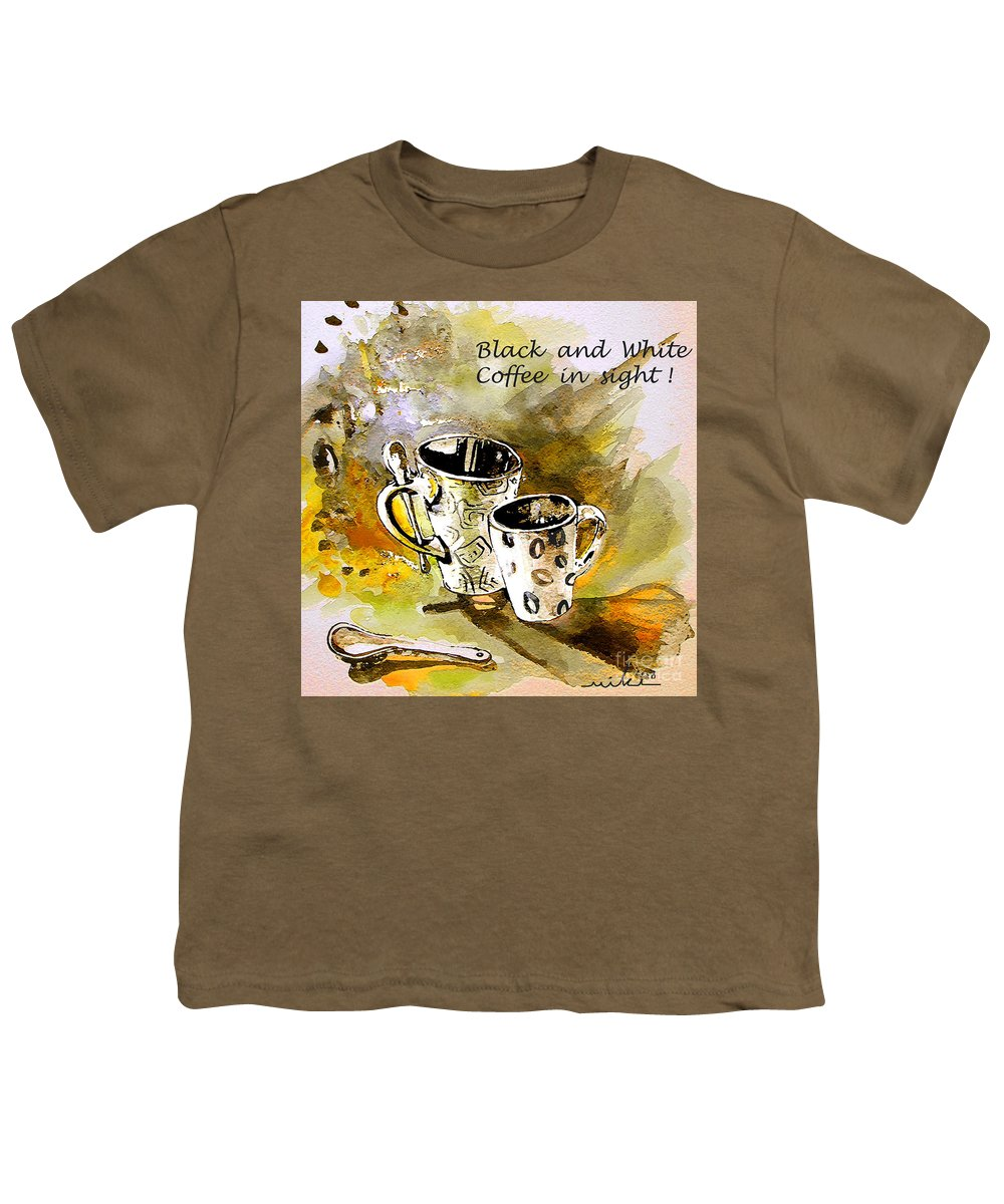 Cafe Crem Youth T-Shirt featuring the painting Black And White by Miki De Goodaboom