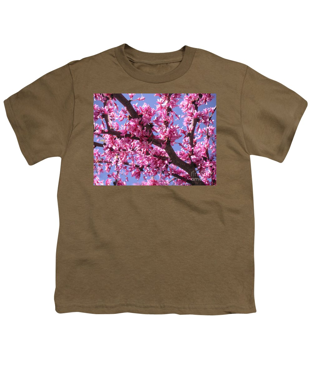 Nature Youth T-Shirt featuring the photograph Blooming Red Buds by Lucyna A M Green