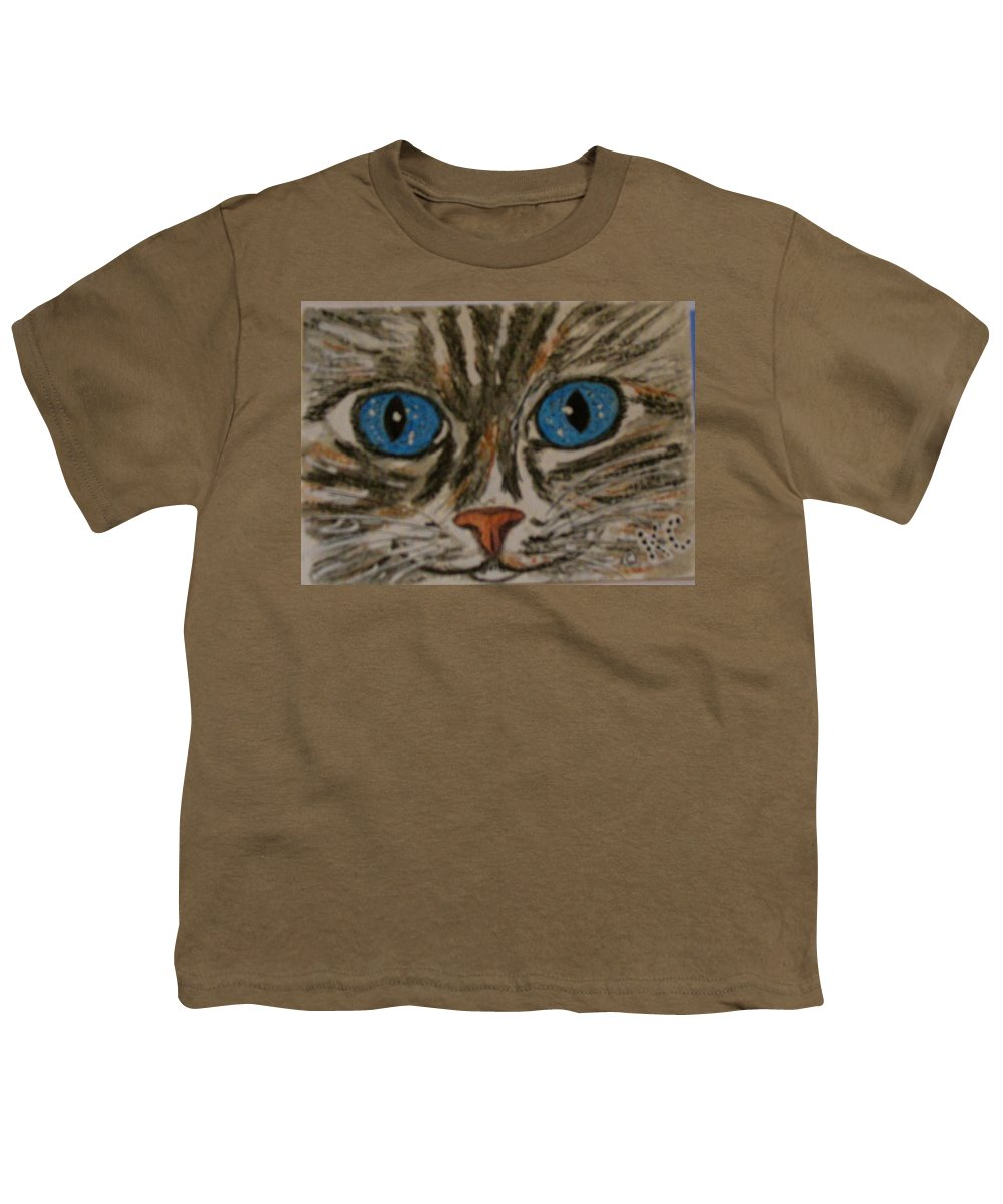 Blue Eyes Youth T-Shirt featuring the painting Blue Eyed Tiger Cat by Kathy Marrs Chandler