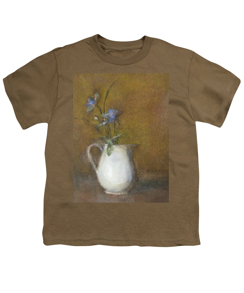 Floral Still Life Youth T-Shirt featuring the painting Blue Flower by Joan DaGradi