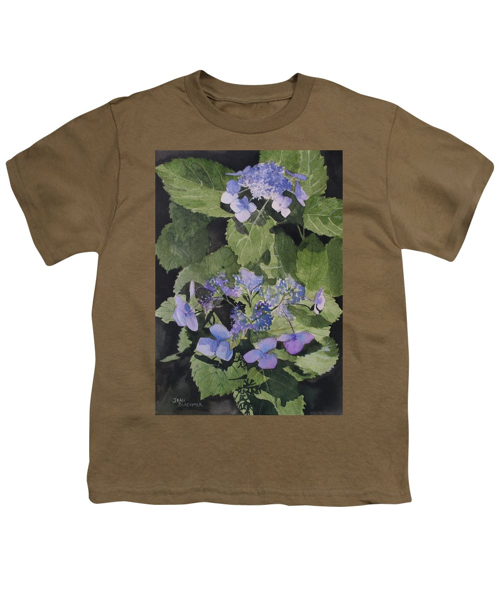 Flowers Youth T-Shirt featuring the painting Blue Lace by Jean Blackmer
