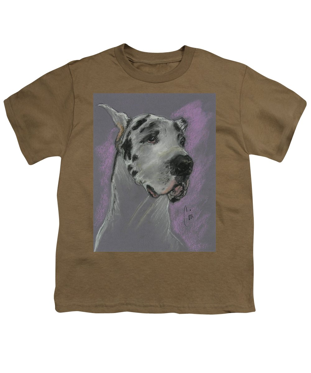 Great Dane Youth T-Shirt featuring the drawing Bodhi's Mystique by Cori Solomon
