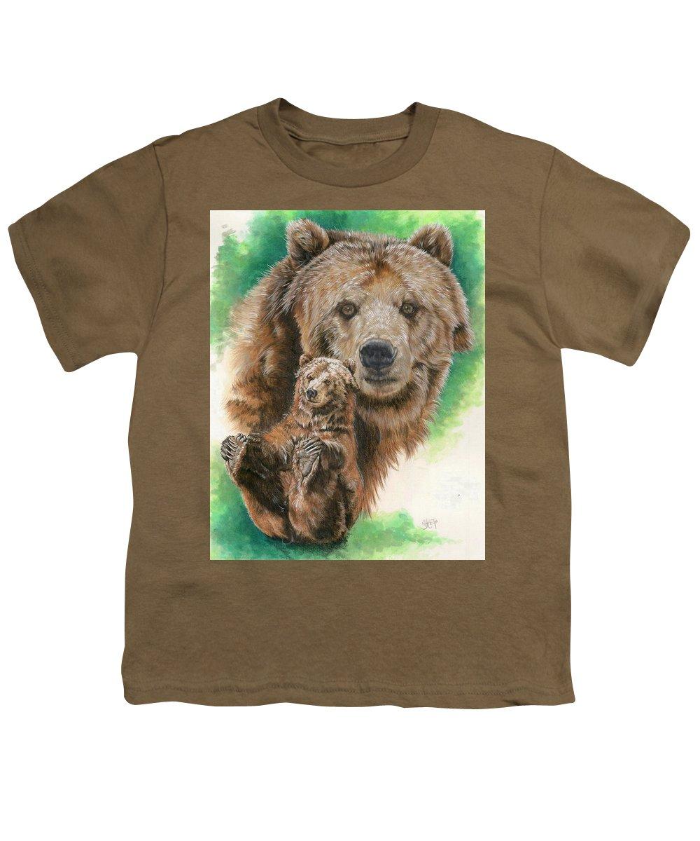 Bear Youth T-Shirt featuring the mixed media Brawny by Barbara Keith