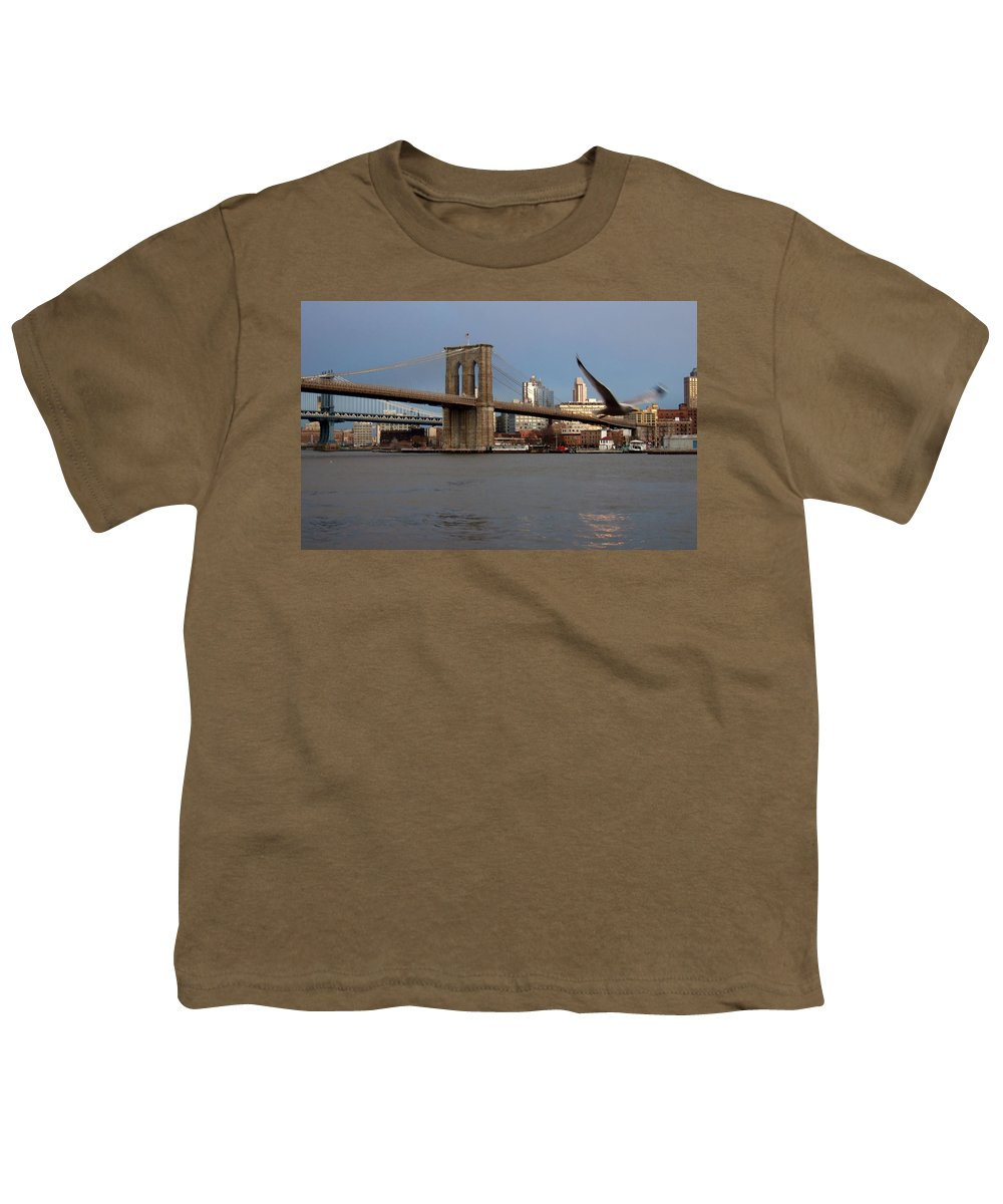 Brooklyn Bridge Youth T-Shirt featuring the photograph Brooklyn Bridge And Bird In Flight by Anita Burgermeister