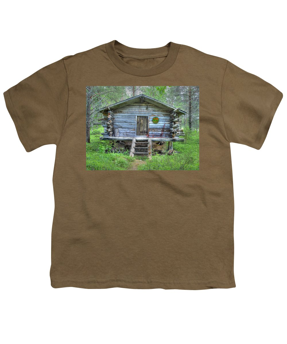 Rustic Youth T-Shirt featuring the photograph Cabin In Lapland Forest by Merja Waters