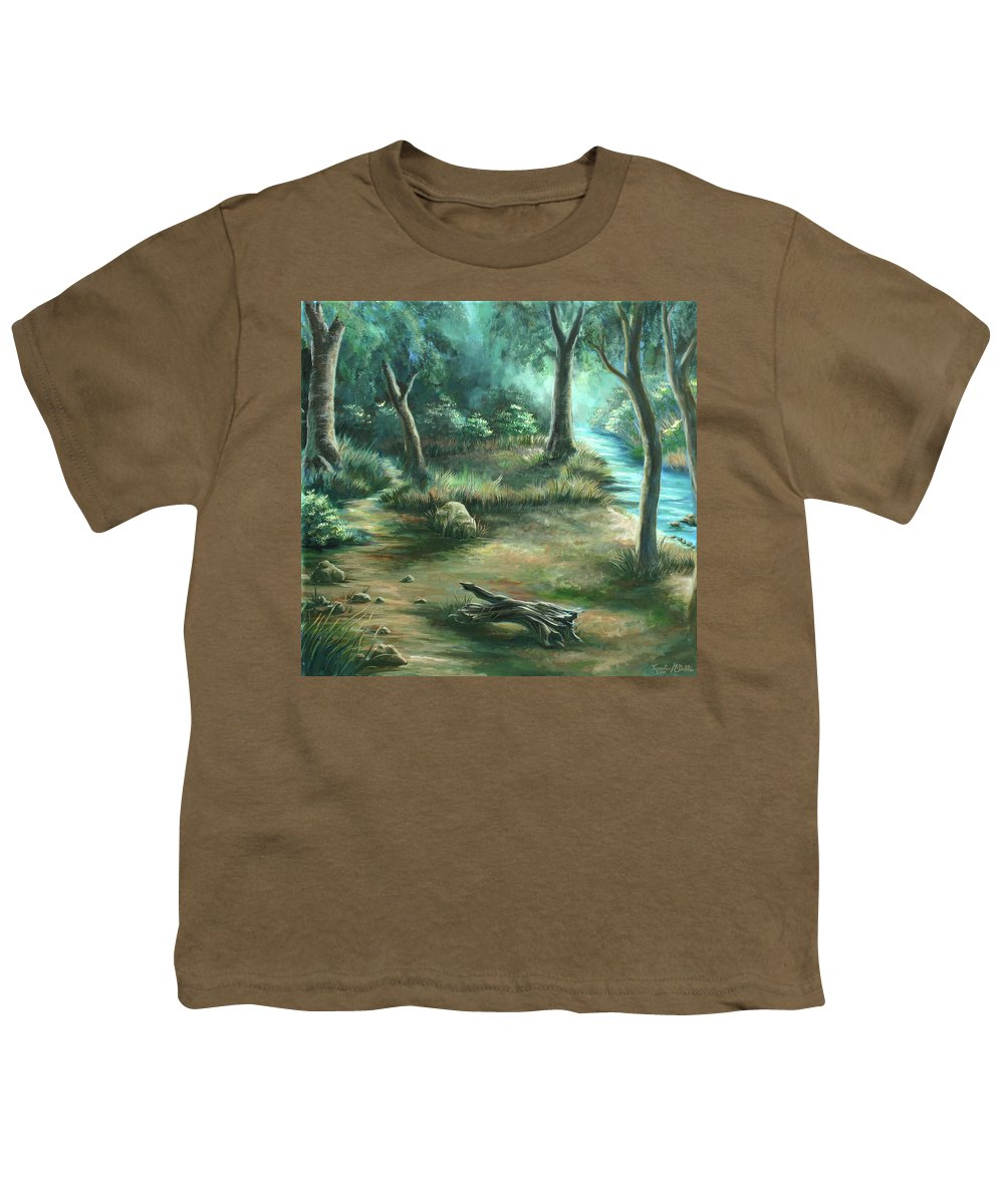 Landscape Youth T-Shirt featuring the painting Camping At Figueroa Mountains by Jennifer McDuffie