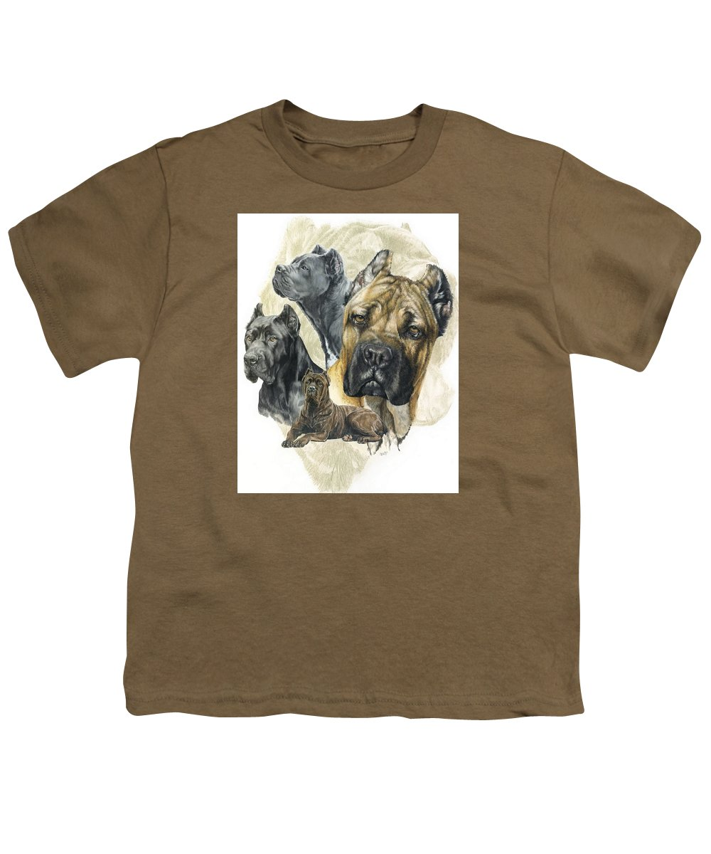 Working Youth T-Shirt featuring the mixed media Cane Corso W/ghost by Barbara Keith