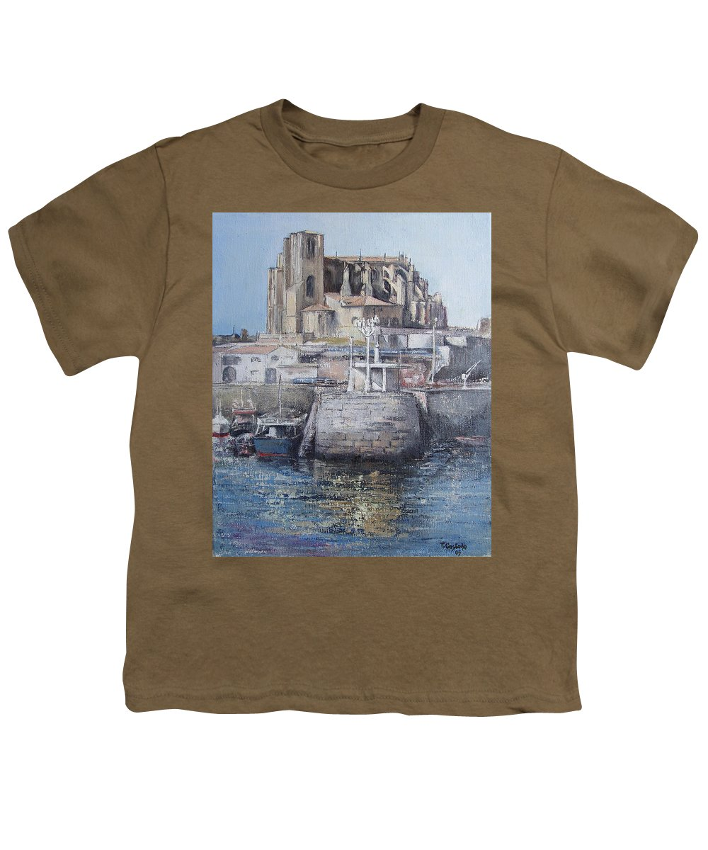 Castro Youth T-Shirt featuring the painting Castro Urdiales by Tomas Castano