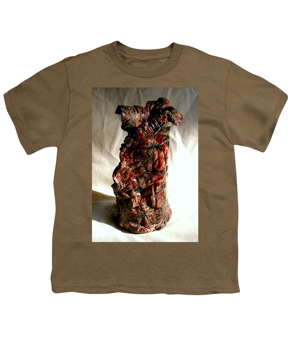 Ceramic Youth T-Shirt featuring the ceramic art Ceramic Red Vase by Madalena Lobao-Tello