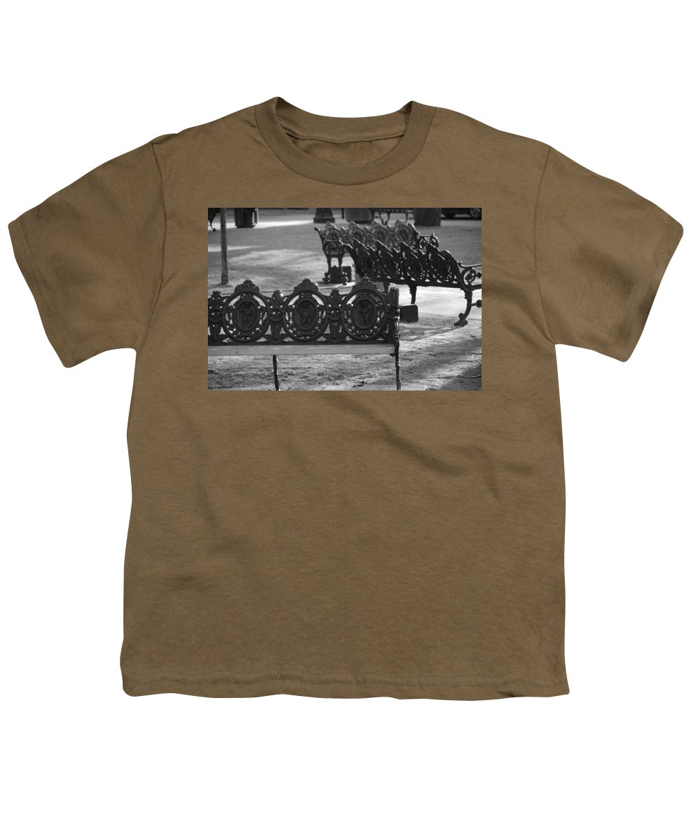 Black And White Youth T-Shirt featuring the photograph Cherb Benches by Rob Hans