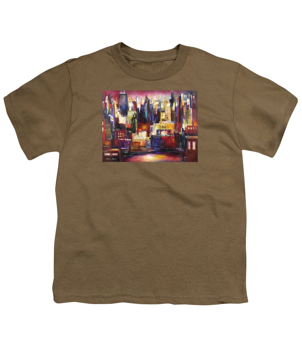 Chicago Art Youth T-Shirt featuring the painting Chicago City View by Kathleen Patrick