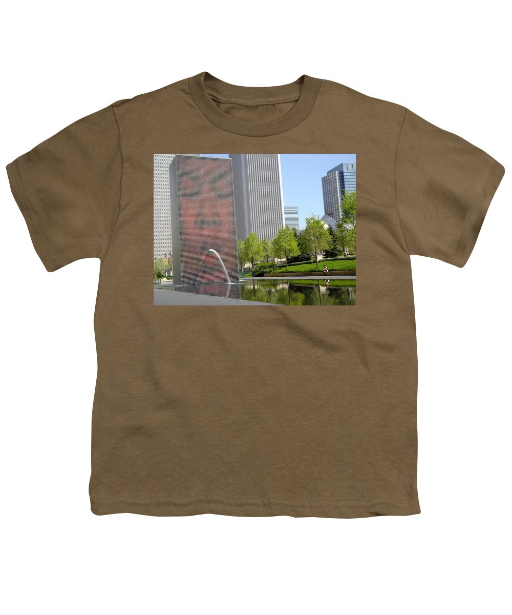 Chicago Youth T-Shirt featuring the photograph Chicago Crown Fountain 8 by Jean Macaluso