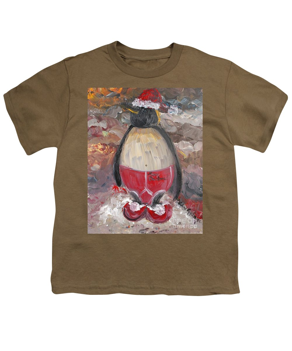 Penguin Youth T-Shirt featuring the painting Christmas Penguin by Nadine Rippelmeyer