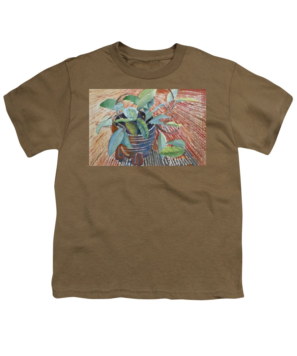 Vine Youth T-Shirt featuring the painting Clay Pot by Ruth Kamenev