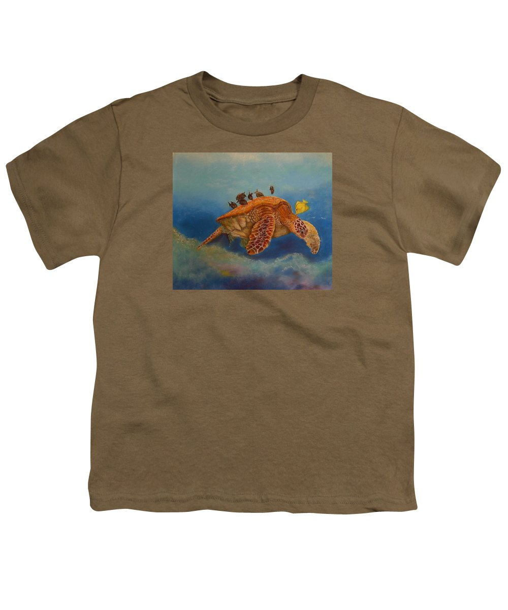 Turtle Youth T-Shirt featuring the painting Cleaning Station by Ceci Watson
