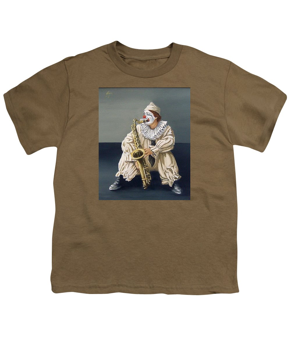 Clown Figurative Portrait People Youth T-Shirt featuring the painting Clown by Natalia Tejera