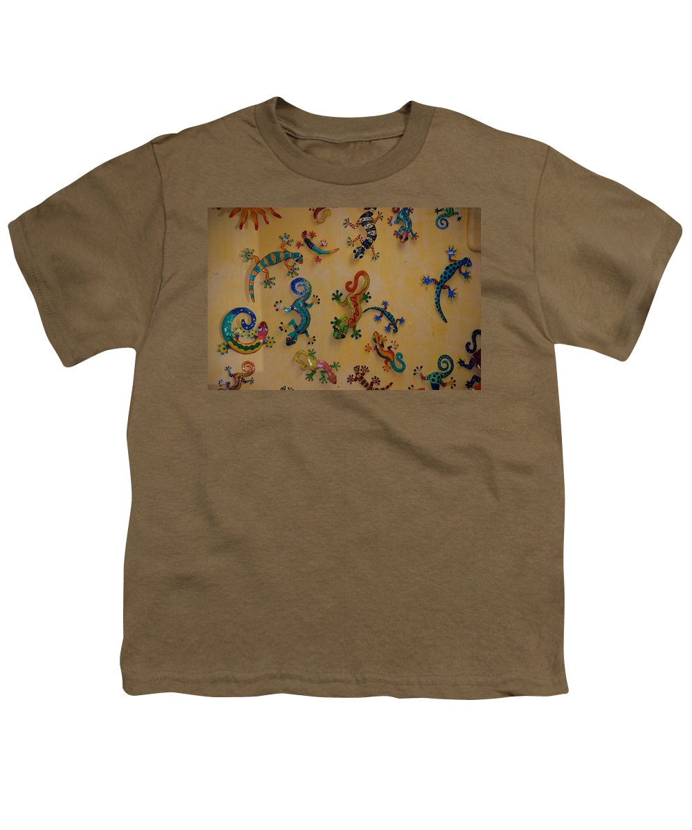 Pop Art Youth T-Shirt featuring the photograph Color Lizards On The Wall by Rob Hans