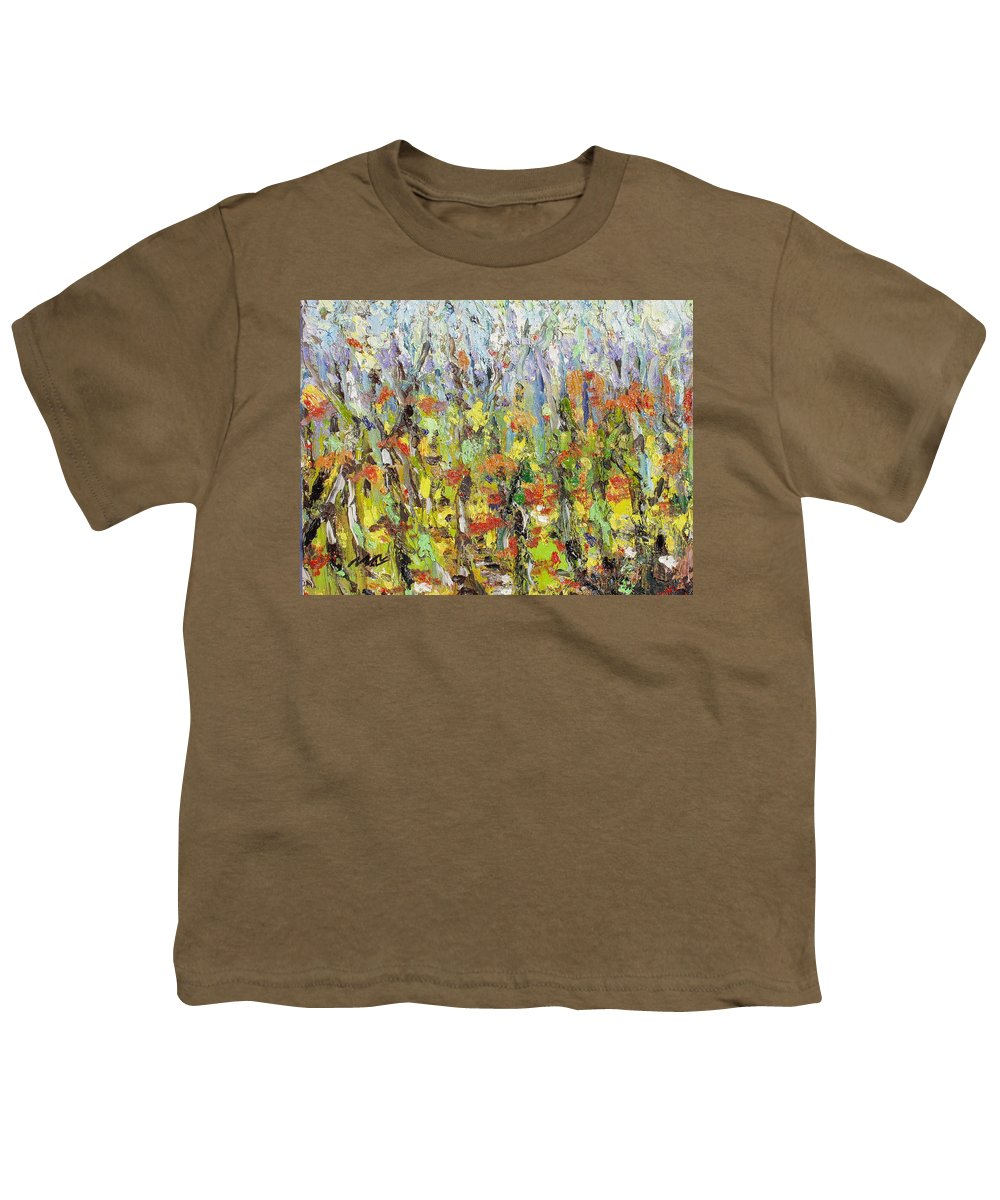 Autumn Abstract Paintings Youth T-Shirt featuring the painting Colorful Forest by Seon-Jeong Kim