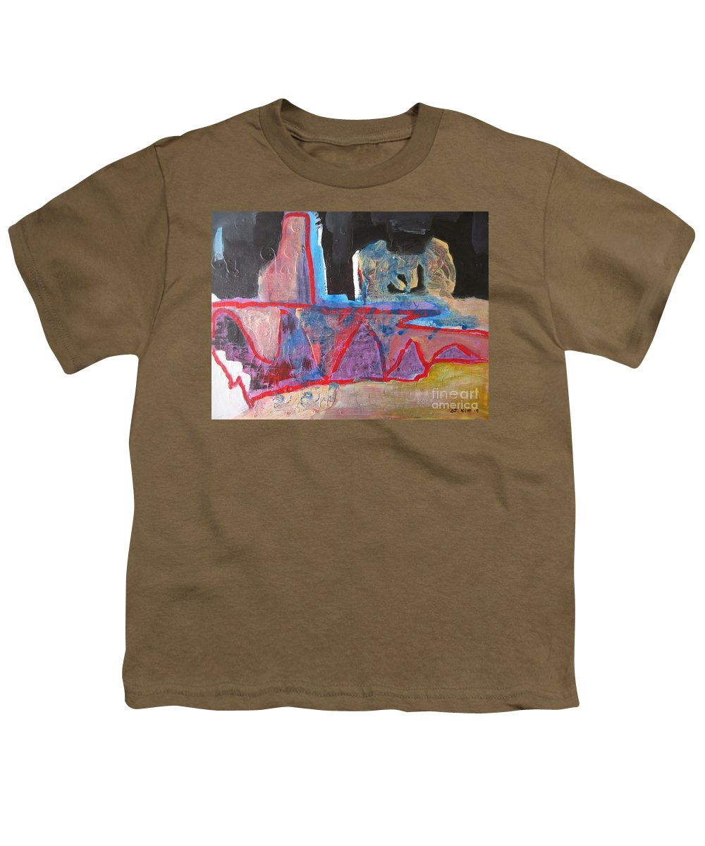 Abstract Paintings Youth T-Shirt featuring the painting Contradiction Of Time by Seon-Jeong Kim