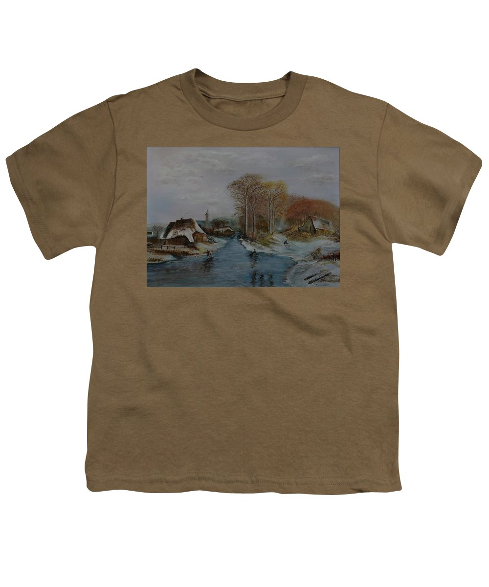 Thatched Roof Cottage Youth T-Shirt featuring the painting Cottage Country - Lmj by Ruth Kamenev