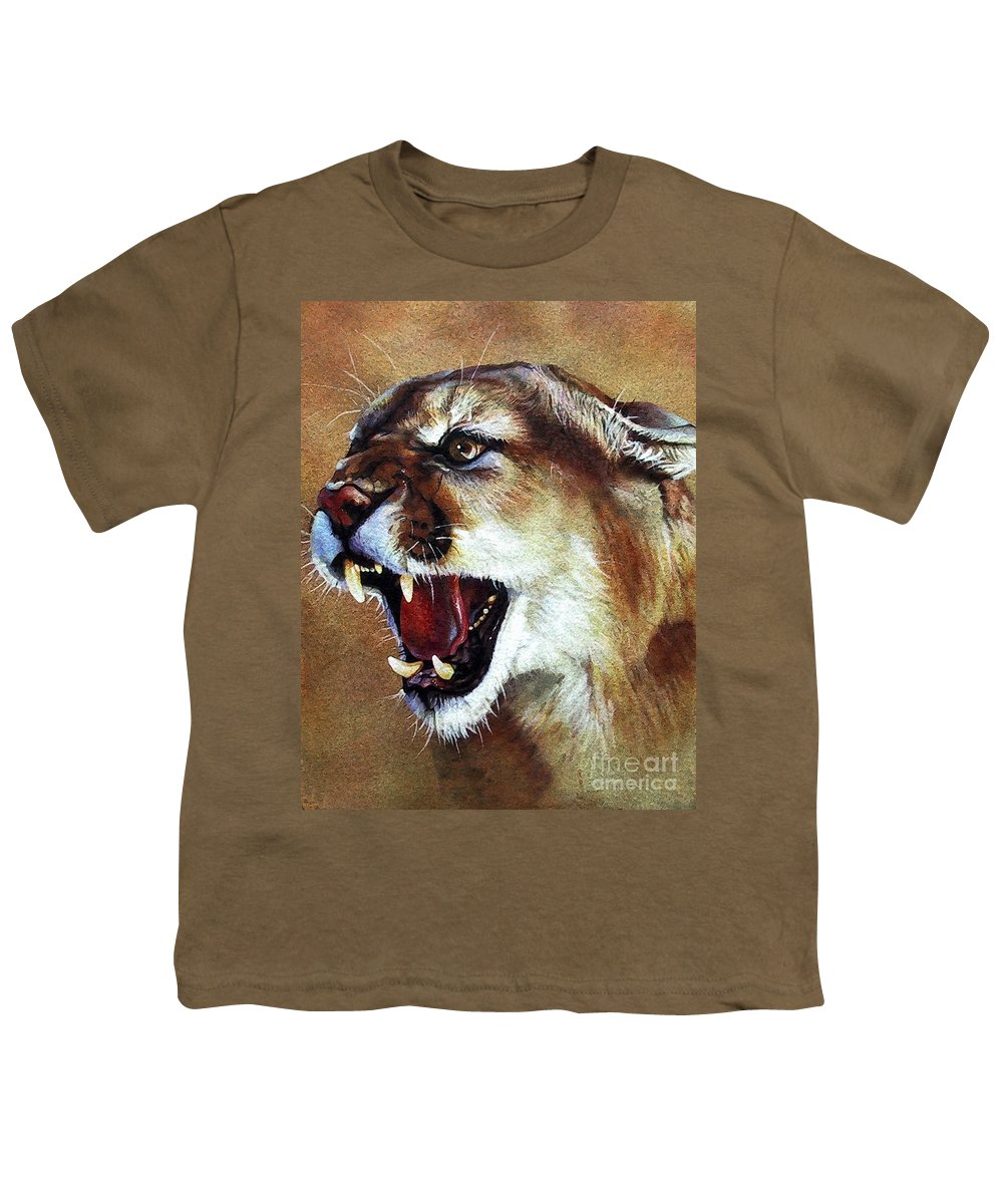 Southwest Art Youth T-Shirt featuring the painting Cougar by J W Baker