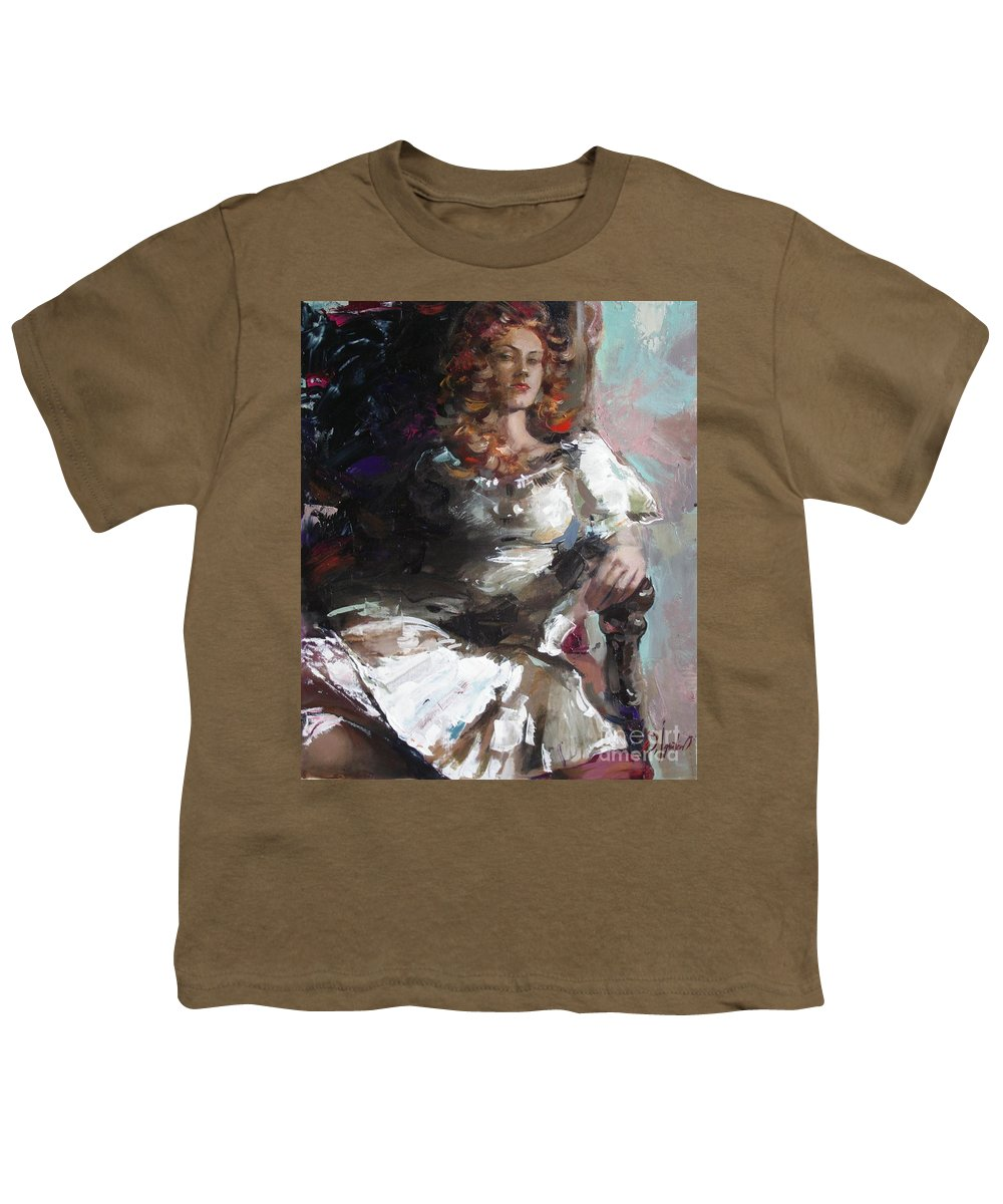 Ignatenko Youth T-Shirt featuring the painting Countess by Sergey Ignatenko